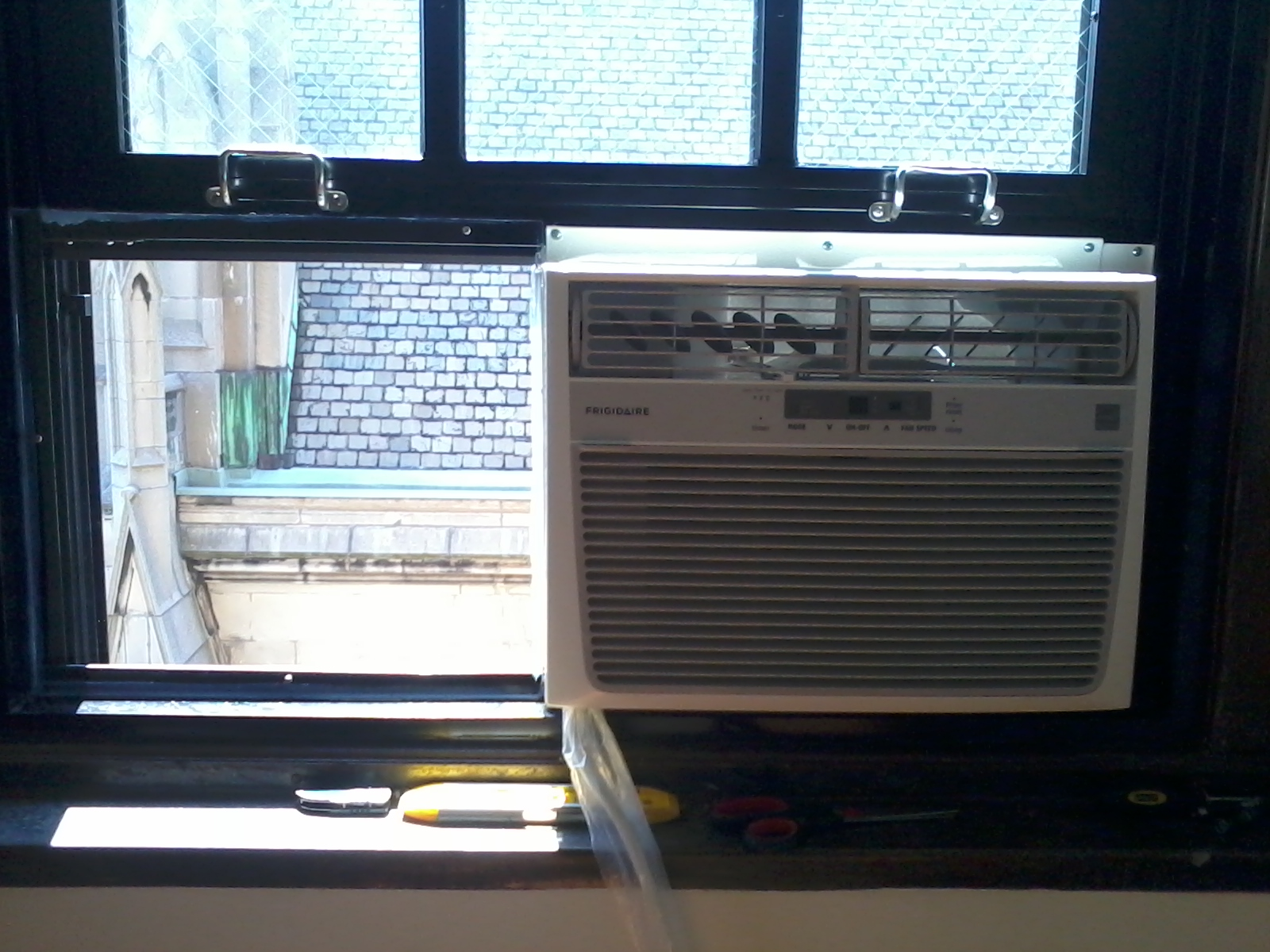 Window AC with plexiglass #3C828F